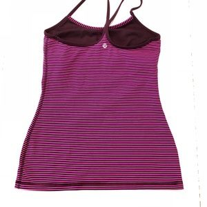 lululemon athletica Tops - Lululemon Power Y tank top hyper stripe raspberry